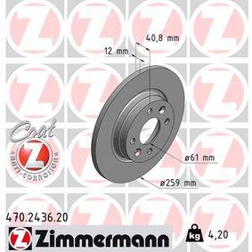 ZIMMERMANN COAT Z 470.2436.20 Bremsscheibe Bremsscheibendicke: 12mm, Lochanzahl: 4, Ø: 259mm