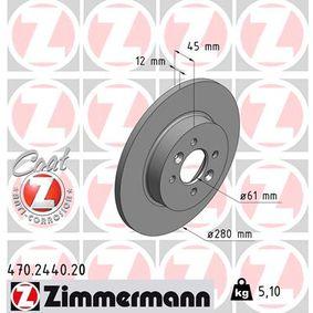 Bremsscheibe Bremsscheibendicke: 12mm, Lochanzahl: 4, Ø: 280mm mit OEM-Nummer 7701207227