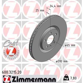 ZIMMERMANN COAT Z 600.3215.20 Bremsscheibe Ø: 310mm