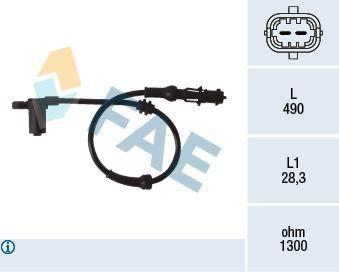 FAE  78077 Sensor, Raddrehzahl Pol-Anzahl: 2-polig