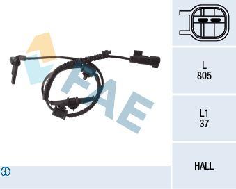 FAE  78110 Sensor, Raddrehzahl Pol-Anzahl: 2-polig