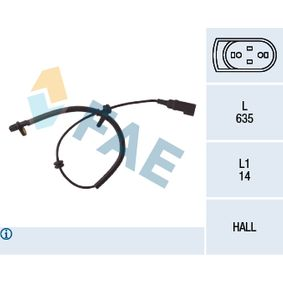 Sensor, Raddrehzahl Pol-Anzahl: 2-polig mit OEM-Nummer 98AG-2B372-BF