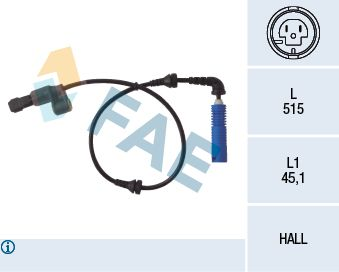 FAE  78033 Sensor, Raddrehzahl Pol-Anzahl: 2-polig