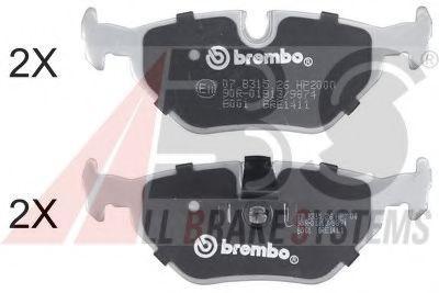 A.B.S.  36824S Bremsbelagsatz, Scheibenbremse Breite 1: 123mm, Höhe 1: 44,8mm, Dicke/Stärke 1: 17mm