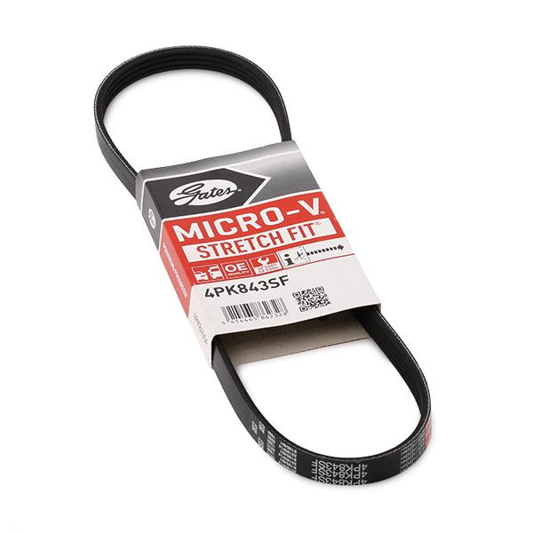 GATES Micro-V® Stretch Fit® 4PK843SF V-Ribbed Belts Length: 843mm, Number of ribs: 4