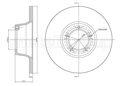 CIFAM  800-162 Bremsscheibe Bremsscheibendicke: 14,3mm, Lochanzahl: 5, Ø: 270,0mm