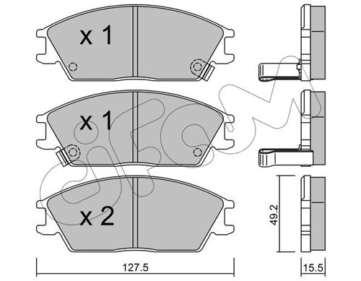 CIFAM  822-081-1 Bremsbelagsatz, Scheibenbremse Dicke/Stärke 1: 15,5mm