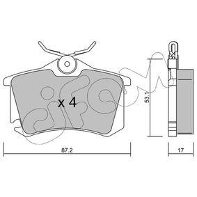 Bremsbelagsatz, Scheibenbremse Dicke/Stärke 1: 17,0mm mit OEM-Nummer 1K0698451A