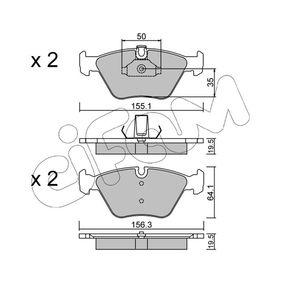 Bremsbelagsatz, Scheibenbremse Breite 2: 156,3mm, Höhe 2: 64,1mm, Dicke/Stärke 2: 19,5mm mit OEM-Nummer 3411 1163 953