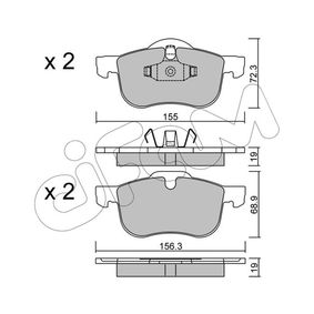 Brake Pad Set, disc brake Width 2 [mm]: 156,3mm, Height 2: 68,9mm, Thickness 1: 19,0mm, Thickness 2: 19,0mm with OEM Number 3126250-6