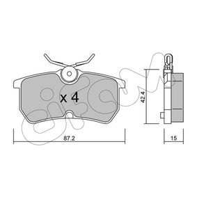 Brake Pad Set, disc brake Thickness 1: 15,0mm with OEM Number 1 107 698