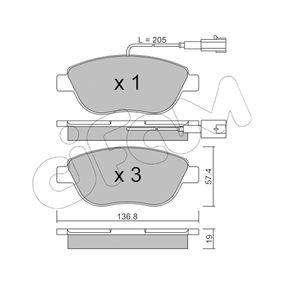 Bremsbelagsatz, Scheibenbremse Dicke/Stärke 1: 19,0mm mit OEM-Nummer 77362712