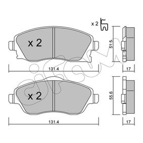 Bremsbelagsatz, Scheibenbremse Breite 2: 131,4mm, Höhe 2: 55,6mm, Dicke/Stärke 1: 17,0mm, Dicke/Stärke 2: 17,0mm mit OEM-Nummer 1605964