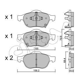 Bremsbelagsatz, Scheibenbremse Breite 2: 156,2mm, Höhe 2: 68,4mm, Dicke/Stärke 2: 18,5mm mit OEM-Nummer 0446602040