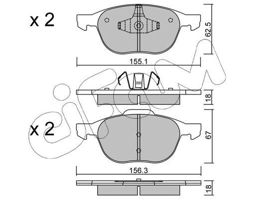 CIFAM  822-534-0 Bremsbelagsatz, Scheibenbremse Breite 2: 156,3mm, Höhe 2: 67,0mm, Dicke/Stärke 1: 18,0mm