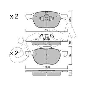 Bremsbelagsatz, Scheibenbremse Breite 2: 156,3mm, Höhe 2: 67,0mm, Dicke/Stärke 2: 18,0mm mit OEM-Nummer MECV6J-2K021-AA