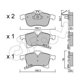 Bremsbelagsatz, Scheibenbremse Breite 2: 156,3mm, Höhe 2: 76,0mm, Dicke/Stärke 2: 20,0mm mit OEM-Nummer 1605996