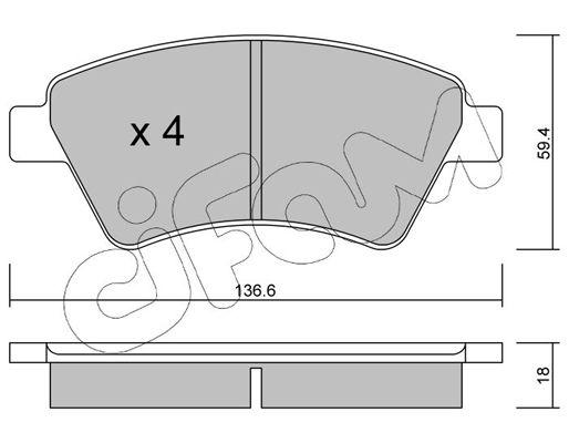 CIFAM  822-544-0 Bremsbelagsatz, Scheibenbremse Dicke/Stärke 1: 18,0mm