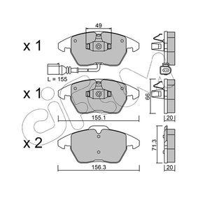 Bremsbelagsatz, Scheibenbremse Breite 2: 156,3mm, Höhe 2: 71,3mm, Dicke/Stärke 2: 20,0mm mit OEM-Nummer 5K0.698.151