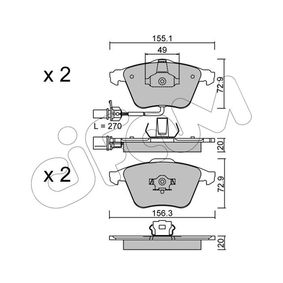 Bremsbelagsatz, Scheibenbremse Breite 2: 156,3mm, Höhe 2: 72,9mm, Dicke/Stärke 2: 20,0mm mit OEM-Nummer 8E0 698 151L