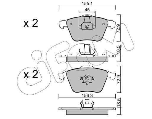 CIFAM  822-549-3 Комплект спирачно феродо, дискови спирачки ширина 2: 156,3мм, височина 2: 72,9мм, дебелина 1: 18,5мм, дебелина 2: 18,5мм