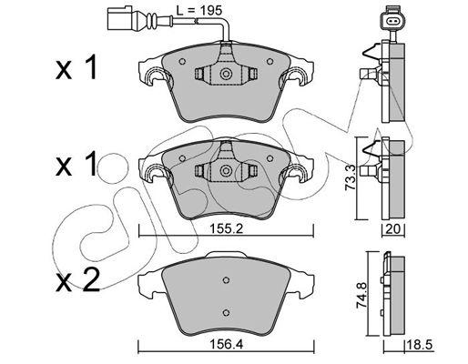 CIFAM  822-552-0 Bremsbelagsatz, Scheibenbremse Höhe 2: 74,8mm, Dicke/Stärke 1: 18,5mm, Dicke/Stärke 2: 20,0mm