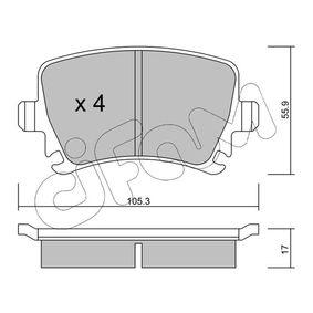 Bremsbelagsatz, Scheibenbremse Dicke/Stärke 1: 17,0mm mit OEM-Nummer 1K0.698.451D