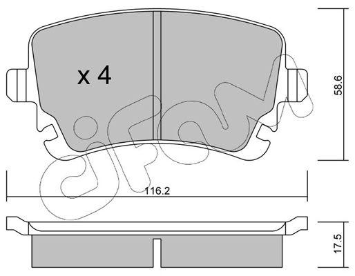CIFAM  822-554-2 Bremsbelagsatz, Scheibenbremse Dicke/Stärke 1: 17,5mm