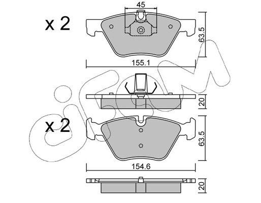 CIFAM  822-557-3 Bremsbelagsatz, Scheibenbremse Breite 2: 155,1mm, Höhe 2: 63,5mm, Dicke/Stärke 1: 20,0mm