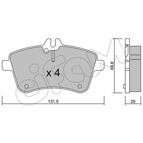 Brake Pad Set, disc brake Thickness 1: 20,0mm with OEM Number A169 420 01 20
