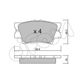Bremsbelagsatz, Scheibenbremse Dicke/Stärke 1: 16,0mm mit OEM-Nummer 0446606200