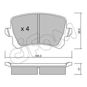 Bremsbelagsatz, Scheibenbremse Dicke/Stärke 1: 17,0mm mit OEM-Nummer 3C0 698 451B