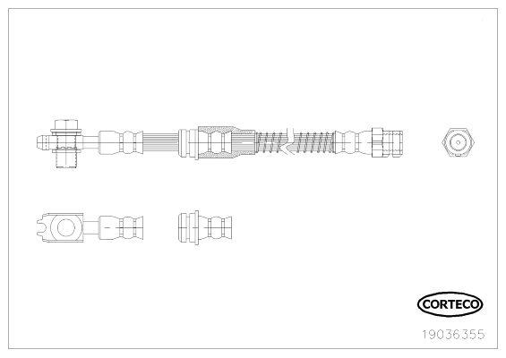 CORTECO  19036355 Bremsschlauch Länge: 565mm