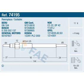 Glühkerze 74195 ZAFIRA B (A05) 1.7 CDTI (M75) Bj 2011