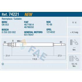 Glühkerze Gewindemaß: M8x1 mit OEM-Nummer 93 17 8047