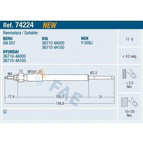 Glühkerze Gewindemaß: M 10x1,25 mit OEM-Nummer 36710-4A 100