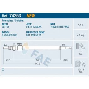 Glow Plug Thread Size: M 8x1 with OEM Number 05175756 AA