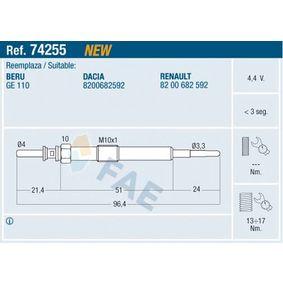 Glühkerze 74255 TWINGO 2 (CN0) 1.5 dCi 90 Bj 2015