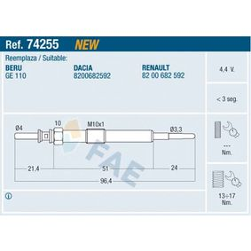 Glow Plug Thread Size: M 10x1 with OEM Number 1106500Q0E