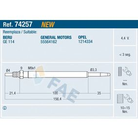 Glühkerze Gewindemaß: M 9x1 mit OEM-Nummer 55564162