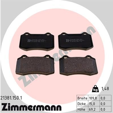 ZIMMERMANN  21381.150.1 Bremsbelagsatz, Scheibenbremse Breite: 110mm, Höhe: 69mm, Dicke/Stärke: 15mm