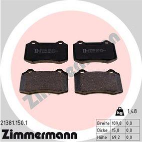 Bremsbelagsatz, Scheibenbremse Breite: 109,8mm, Höhe: 69,2mm, Dicke/Stärke: 15,0mm mit OEM-Nummer 3066555-2