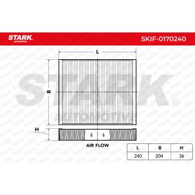Filter, Innenraumluft Länge: 240mm, Breite: 204mm, Höhe: 36mm mit OEM-Nummer 13271191