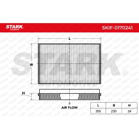 Filter, Innenraumluft Länge: 350mm, Breite: 230mm, Höhe: 34mm mit OEM-Nummer 2E0 819 638