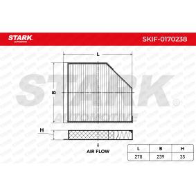Filter, Innenraumluft Länge: 278mm, Breite: 239mm, Höhe: 35mm mit OEM-Nummer 8K0 819 439A