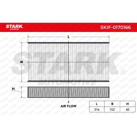 Filter, Innenraumluft Länge: 316mm, Breite: 152mm, Höhe: 40mm mit OEM-Nummer 6441EJ
