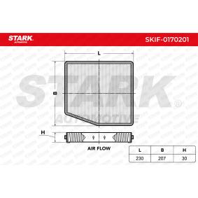 Filter, Innenraumluft Länge: 230mm, Breite: 207,0mm, Höhe: 30mm mit OEM-Nummer 4 677 0834