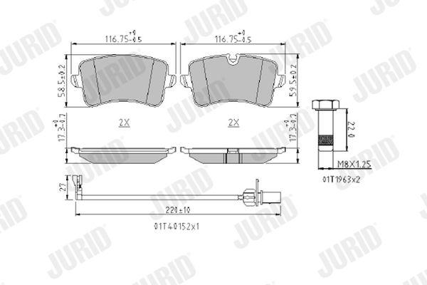 Bremsbeläge 573428J JURID 25214 in Original Qualität