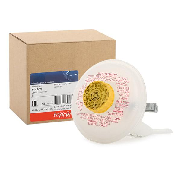 Ausgleichsbehälter, Bremsflüssigkeit 114 009 TOPRAN 114 009 in Original Qualität