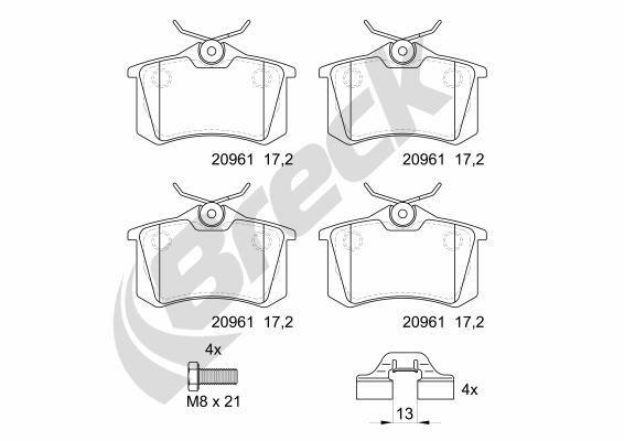 Bremsbeläge 20961 10 704 00 BRECK 20961 10 704 00 in Original Qualität